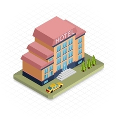 Hotel building Isometric 3d pixel design icon vector image