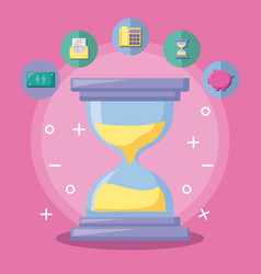 Hourglass with economy and financial icons vector