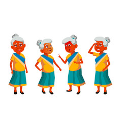indian old woman poses set elderly people vector image