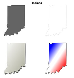 Indiana outline map set vector