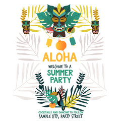 invitation poster template for hawaiian summer vector image