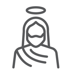 Jesus line icon christianity and god christ sign vector