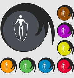 Jump rope icon Symbols on eight colored buttons vector