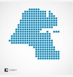 kuwait map and flag icon vector image