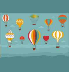 Landscape with vintage hot air balloons vector