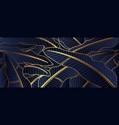 Luxury gold line art and banana leaf natural vector