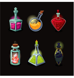 Magic bottle set game design icons set vector