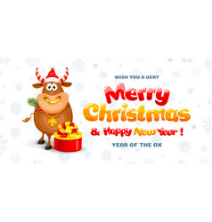 merry christmas and happy new year 2021 card vector image
