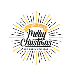 merry christmas shine xmas logo white gold vector image