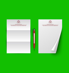 mockup with ballpoint pen template laying sheets vector image