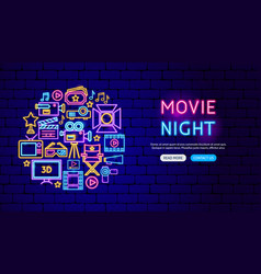 movie neon banner design vector image