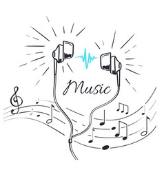 Music headphones with sounds and notation sketch vector