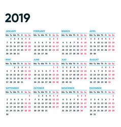 New simple 2019 calendar weeks from monday vector
