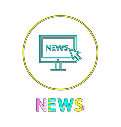 news in linear outline style vector image