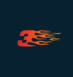 Number 3 fire flame logo speed race design vector