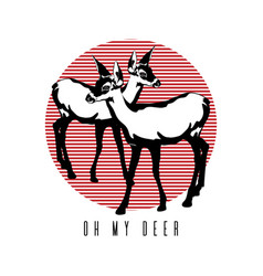 oh my deer hand drawn fawn vector image