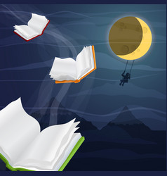 open books flying in moon sky for reading concept vector image