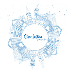 Outline charleston south carolina city skyline vector