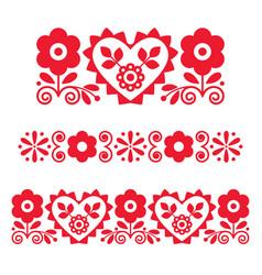 Polish retro floral folk art long patterns vector