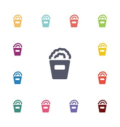 Popcorn flat icons set vector