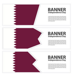 Qatar flag banners collection independence day vector