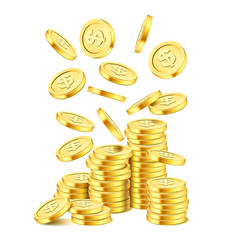 realistic gold coin stack on white background vector image