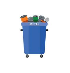 Recycle waste bin for metal vector
