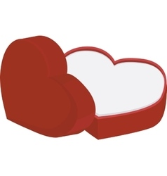 Red heart shape box with cap isolated on white vector image