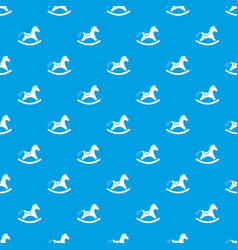 rocking horse pattern seamless blue vector image
