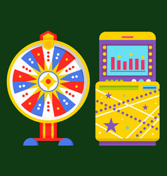 roulette and game machine fortune wheel vector image