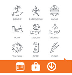 Save nature planet and water icons minerals vector