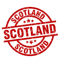Scotland red round grunge stamp vector