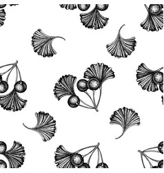 seamless pattern with black and white ginkgo vector image
