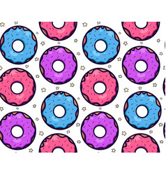 Seamless texture with cute kawaii colorful donut vector