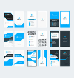 Set 9 double sided vertical business card vector
