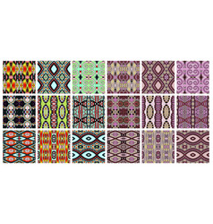 set of 18 geometric seamless pattern in ethnic vector image