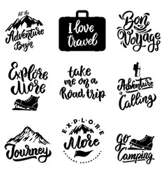 set of lettering motivation phrases with travel vector image