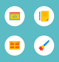 set of wd icons flat style symbols with coding vector image