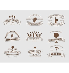 Set of wine logos with ribbons vector image vector image