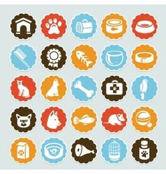 set stickers with pet icons vector image