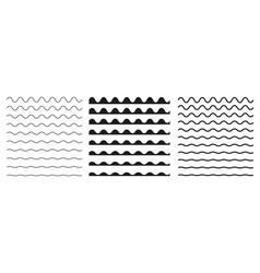 set wavy horizontal lines border design vector image