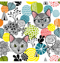 smart cats and colorful abstract shapes vector image