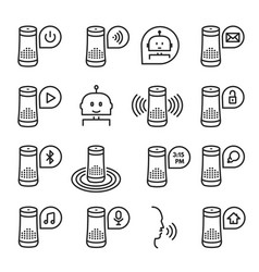 smart speaker icon set isolated from vector image