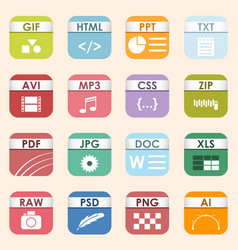 square file types and formats labels icon vector image