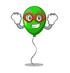Super hero green baloon on left corner mascot vector