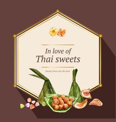 Thai sweet wreath design with crispy pancake vector