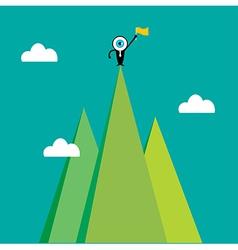 The blue eye leader on top mountain vector