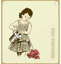 The retro an the girl takes care of flowers vector