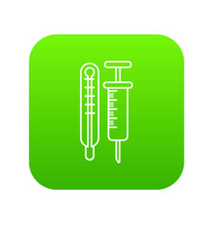thermometer syringe icon green vector image