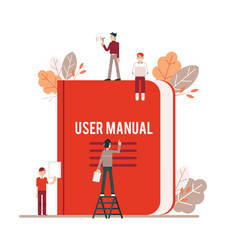 Tiny people make up and read the red user manual vector